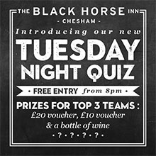 Pub Quiz in Chesham. Tuesday Night at the Black Horse Inn.