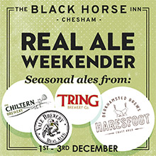 Mini Ale Fest at The Black Horse, featuring top ales from local brewries in Chesham and Bucks.