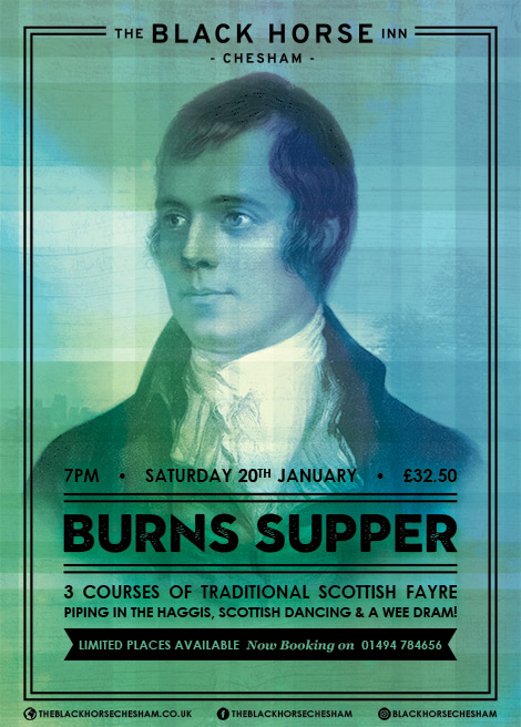 January events in Chesham - Burns Supper - An evening of traditional Scottish fayre.