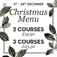 Christmas in Chesham 2017. Our delicious Christmas menu will be served up from the 5th of December until the 23rd.