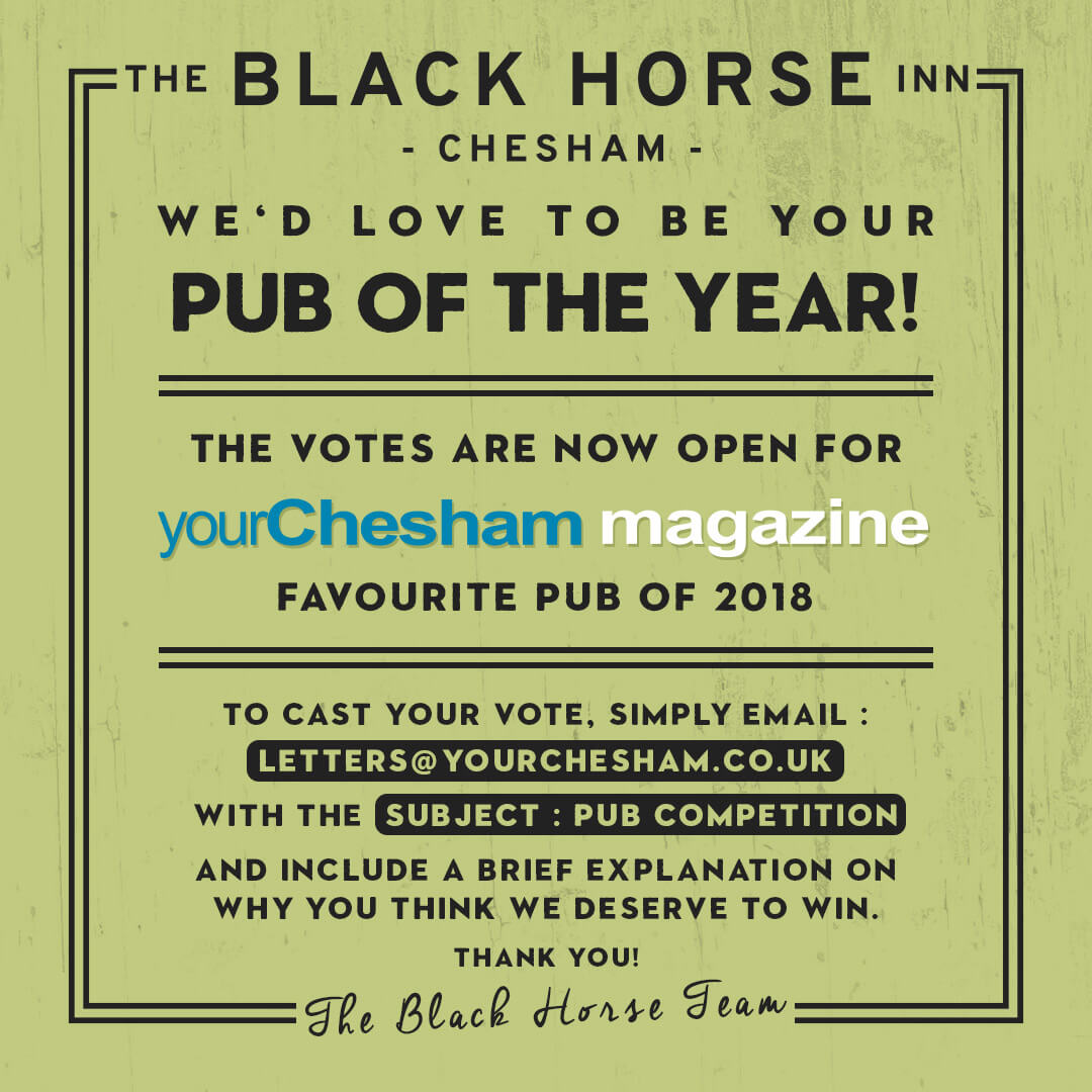 Vote for The Black Horse Inn for Your Chesham Pub of the Year 2018