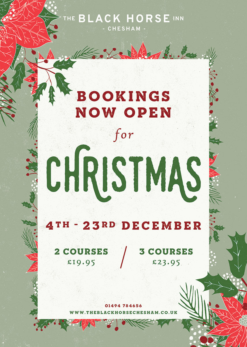 Christmas 2018 Menu at The Black Horse Inn Chesham