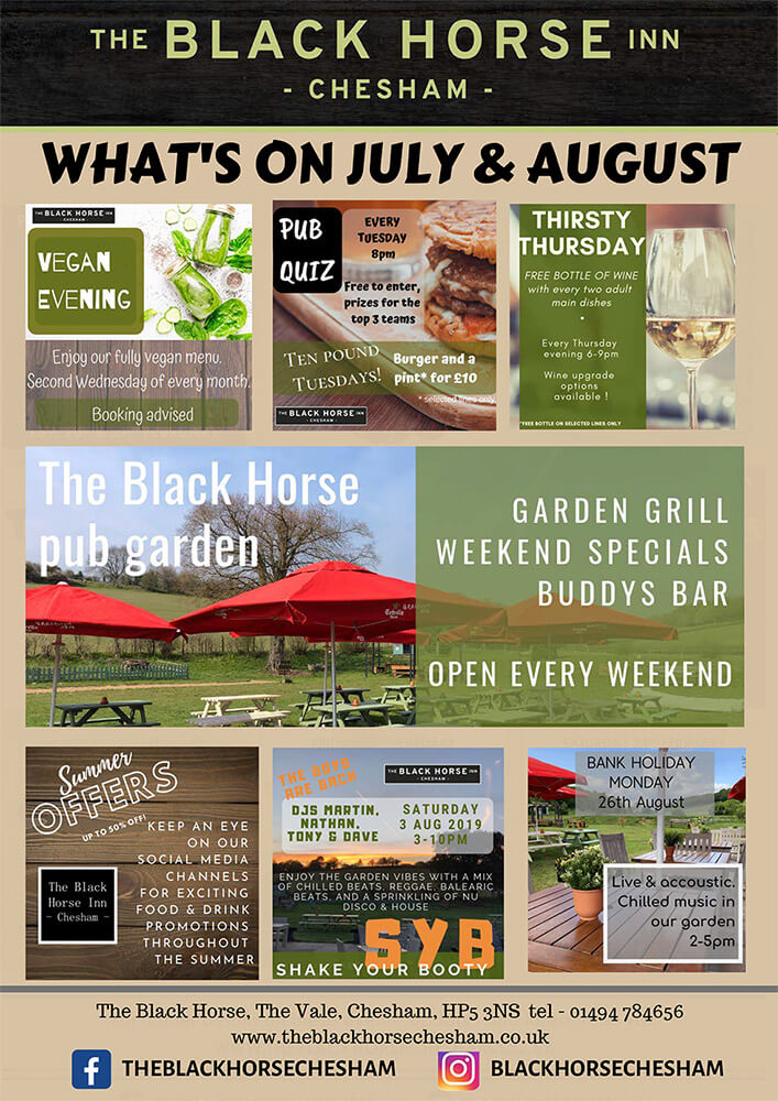 Events In Chesham - What's On At The Black Horse Inn In July And August 2019