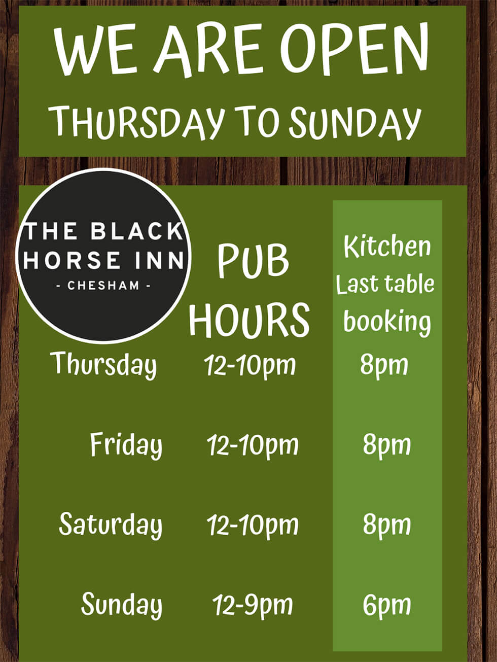 Winter opening hours at the Black Horse Chesham